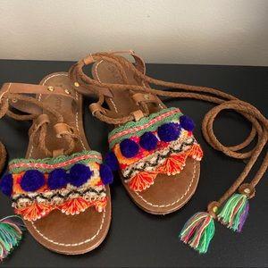 DVLPMNT Anthro colorful boho gladiator sandals